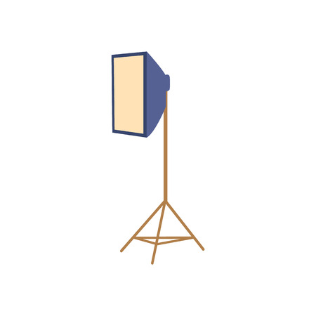 Professional photo studio equipment - soft box floor lamp, flat cartoon vector illustration on white background. Flat cartoon style professional photo studio floor soft box