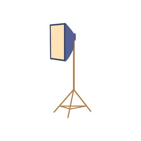 Professional photo studio equipment - soft box floor lamp, flat cartoon vector illustration on white background. Flat cartoon style professional photo studio floor soft box