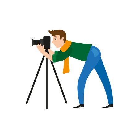 vector flat cartoon man in casual clothing wearing scarf, jeans making shoots by dslr photo camera standing on tripod. Isolated illustration on a white background. Ilustração
