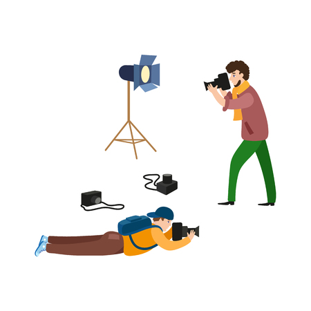 vector flat cartoon photographers and professional photo equpment set. One man lying at ground with photo camera making shoots, another standing with camera. Isolated illustration on white background.