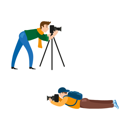 vector flat cartoon man in casual clothing wearing scarf, jeans making shoots by dslr photo camera standing on tripod, another boy lying at ground. Isolated illustration on a white background. Illusztráció