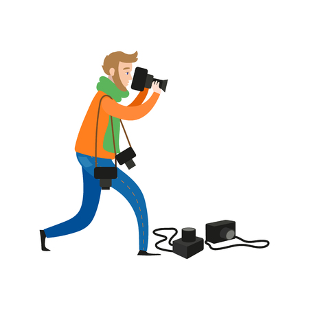 vector flat cartoon man in casual clothing wearing scarf, jeans making shoots by dslr photo camera having four reserve cameras. Isolated illustration on a white background.