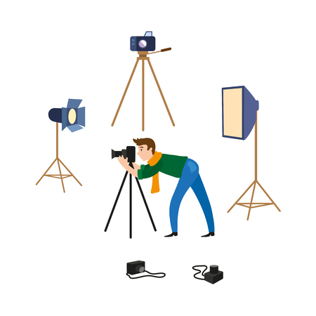 vector flat cartoon man in casual clothing wearing scarf, jeans making shoots by dslr photo camera standing on tripod and professional photo equipment set. Isolated illustration on a white background.