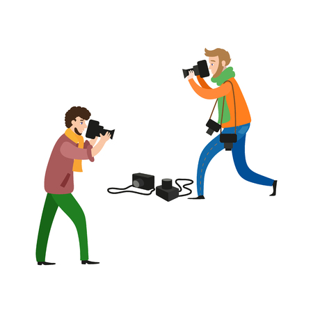 vector flat cartoon two male photographers with professional photo equpment. Men in casual clothing and scarf making photo shoots by dlsr cameras .Isolated illustration on white background.