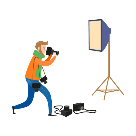vector flat cartoon man in casual clothing wearing scarf, jeans making shoots by dslr photo camera and professional photo, light equipment set. Isolated illustration on a white background. Illustration