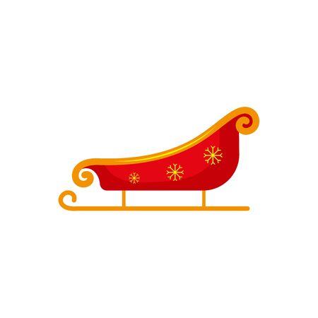 フラット スタイル赤とゴールド色のサンタそり, クリスマスのアイコン, グリーティング カード要素、白の背景にベクトル画像。サンタそり、フラ  イラスト・ベクター素材