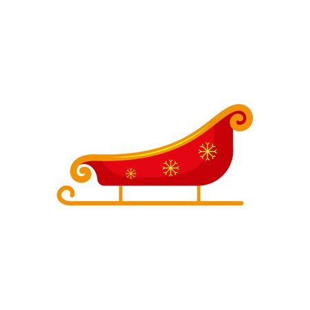 Flat style red and gold colored Santa sleigh, Christmas icon, greeting card element, vector illustration on white background. Santa sleigh, flat style Christmas icon, decoration element Stock fotó - 88347680