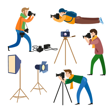 Set of photographers at work and professional equipment - camera, flash, light, reflector, tripod, flat cartoon vector illustration on white background. Professional photographers and photo equipment Ilustração