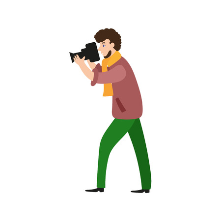 Photographer, camera man, videographer at work taking pictures, shooting, flat cartoon vector illustration on white background. Full length portrait of photographer, photo journalist, reporter at work