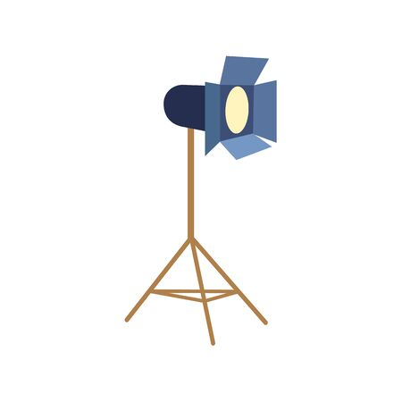 Professional photo studio floor spotlight, flash light, flat cartoon vector illustration on white background. Flat cartoon style professional photo studio floor lamp, flash light, equipment Ilustracja