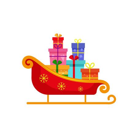 ベクトル フラット クリスマス冬の休日のシンボル - 赤ゴールデン クリスマスの星で飾られたサンタそりボックス、ギフトのプレゼントの山。白い
