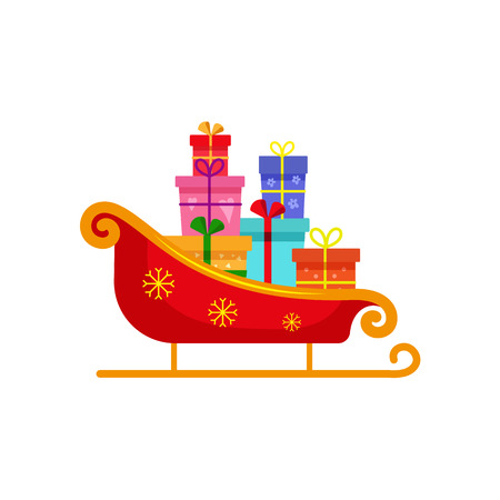 vector flat christmas winter holiday symbol - Decorated with stars, red golden christmas santa sleigh with box, gifts presents pile. Isolated illustration on a white background.