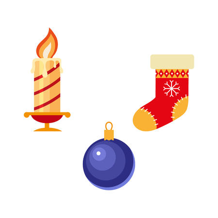 vector flat christmas winter holiday symbols set. Christmas knitted stocking ,wox candle and festive decoration ball. Isolated illustration on a white background. Illustration
