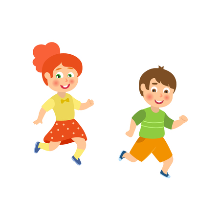 Kids, children, boy and girl playing tag, running outside, flat cartoon vector illustration isolated on white background. Funny kids having fun, playing tag, running, enjoying summer vacation
