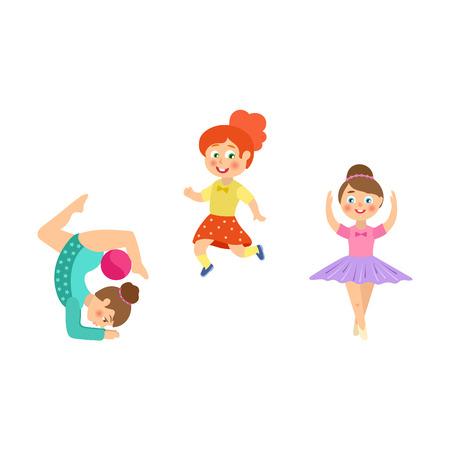 Girls doing sport exercises - runner, gymnast, ballet dancer, flat cartoon vector illustration isolated on white background. Little girls doing rhythmic gymnastics with ball, dancing ballet, running