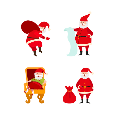 vector flat cartoon santa claus in christmas stockings and hat sitting at luxury armchair, holding paper scroll, carrying big bag with presents set. Holiday illustration isolated on a white background Illustration