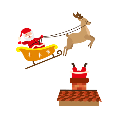 vector flat cartoon santa claus in christmas clothing riding reindeer flying sleigh smiling, stuck in the chimney on the roof set. Holiday illustration isolated on a white background. Illustration