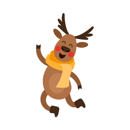 vector flat cartoon cute male christmas reindeer in red scarf dancing or happily jumping smiling. Winter holiday deer animal simbol full lenght. Isolated illustration on a white background.