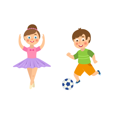 vector flat cartoon funny young teen boy playing football, girl ballet dancer set. Male, female characters smiling. Isolated illustration on a white background.