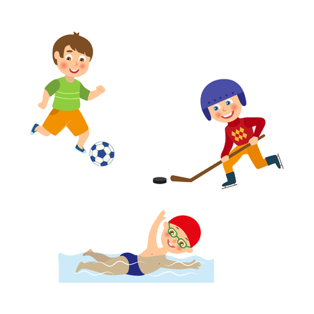 vector flat cartoon funny young teen kids doing sports set. Boys playing football, hockey in uniform - helmet, protection and stick and swimming in pool. Isolated illustration on a white background.