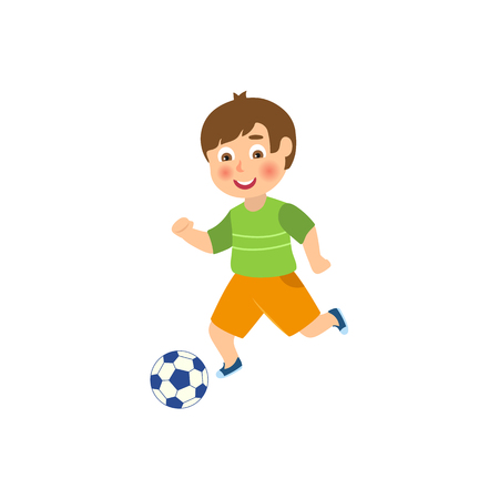 vector flat cartoon funny young teen boy playing football. Male man athlete in sport summer clothing smiling. Isolated illustration on a white background.