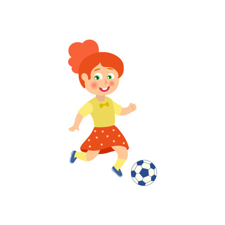 vector flat cartoon cute young teen girl playing football. Female woman athlete in sport summer clothing smiling. Isolated illustration on a white background.