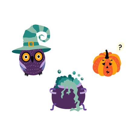 vector flat halloween autumn holiday symbols set. Pumpkin or Jack OLanterns, owl in witch hat, black bat and witch boiling pot cauldron with magic brew. Isolated illustration on a white background.