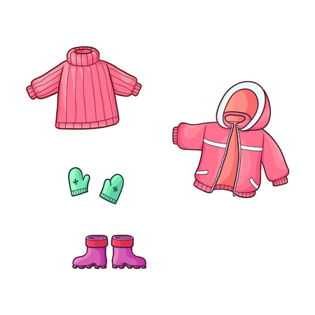 vector flat cartoon girl kid child outfit winter apparel set - green knitted warm mittens gloves with snowflakes, rubber boots jacket and pullover. Isolated illustration on a white background. Illusztráció