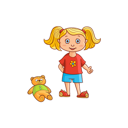 vector flat cartoon cute girl kid child with pigtails in funny clothing and cat-like slippers with bear toy near. isolated illustration on a white background. Иллюстрация