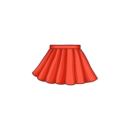 gonna rossa femminile di estate piana del fumetto vettoriale. Estate alla moda alla moda, abbigliamento casual femminile. Illustrazione isolato su uno sfondo bianco.