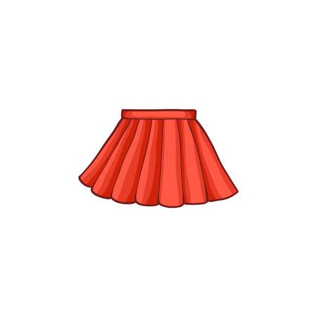 vecteur jupe rouge féminine d'été plat de dessin animé. Été à la mode de style à la mode, vêtements décontractés féminins. Illustration isolée sur un fond blanc.