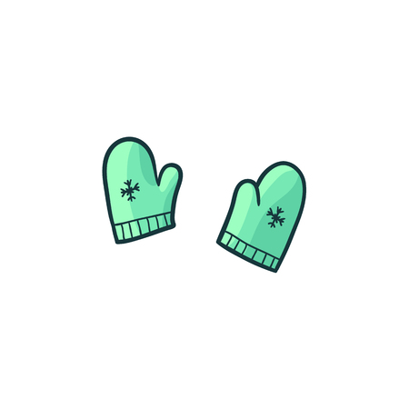 vector flat cartoon baby green knitted warm winter mitten gloves. Fashionable trendy style casual clothing. Isolated illustration on a white background.