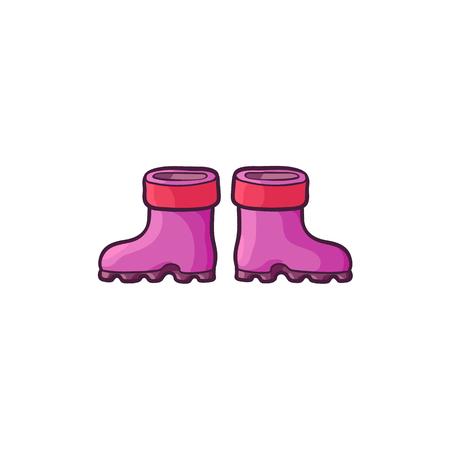 Vettore piatto bambino bambino cartone animato, stivali di gomma per bambini rosa viola colorato. Scarpa casual alla moda alla moda. Illustrazione isolato su uno sfondo bianco. Archivio Fotografico - 88369274