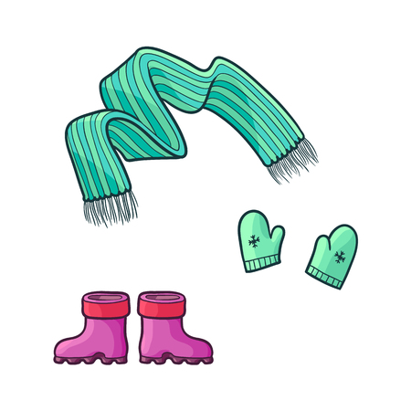 vector flat cartoon girl kid child outfit apparel set - green knitted warm scarf, mittens gloves with snowflakes and rubber boots. Isolated illustration on a white background.