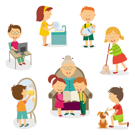 full length mirror: Children at home - using computer, doing chore, looking after sibling, listening to grandma reading, flat cartoon vector illustration isolated on white background. Big set of kids, home activities Illustration