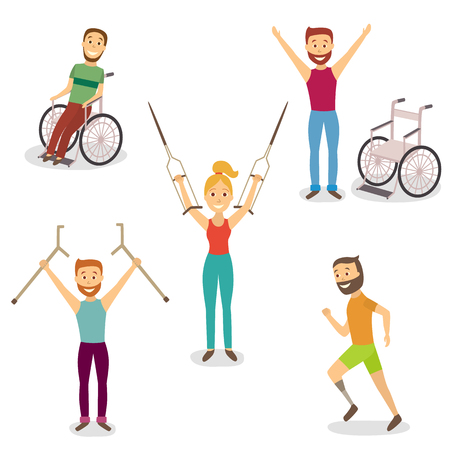 Riabilitazione medica, recupero di traumi, non più bisogno di sedia a rotelle o stampelle, illustrazione vettoriale piatto cartone animato su sfondo bianco. Riabilitazione, recupero, addio alla sedia a rotelle, stampelle