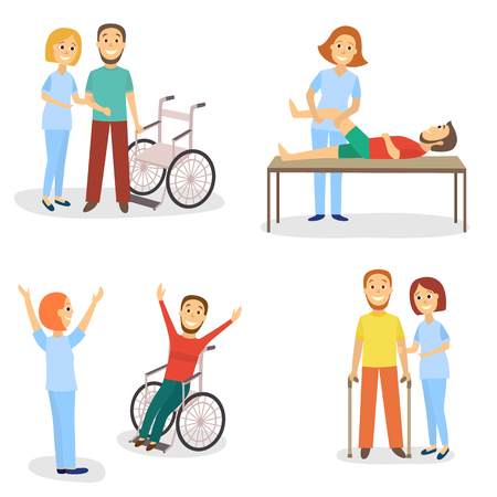 Medical rehabilitation, physical therapy, physiotherapist working with patients, flat cartoon vector illustration on white background. Medical rehabilitation, physical therapy, nurse and patients Illustration