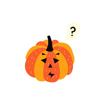 vector flat cartoon halloween autumn holiday symbol spooky pumpkin with puzzled emotion or Jack OLanterns . Isolated illustration on a white background. Illustration