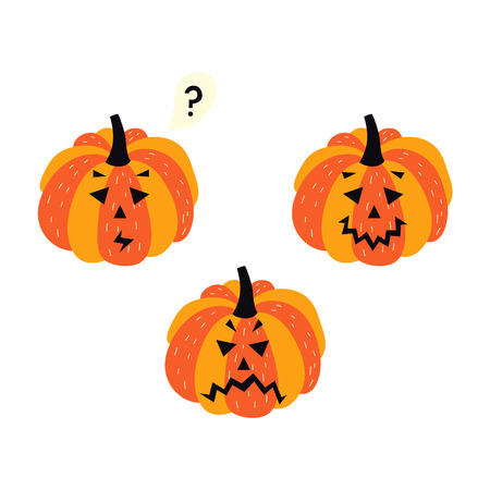 Triste, Calabaza Frustrada Jack-o-lantern, Símbolo De Halloween ...