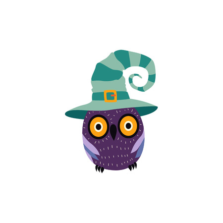 vector flat cartoon halloween traditional autumn holiday symbol spooky stylized funny magic owl in witch wizard hat. Isolated illustration on a white background. Çizim
