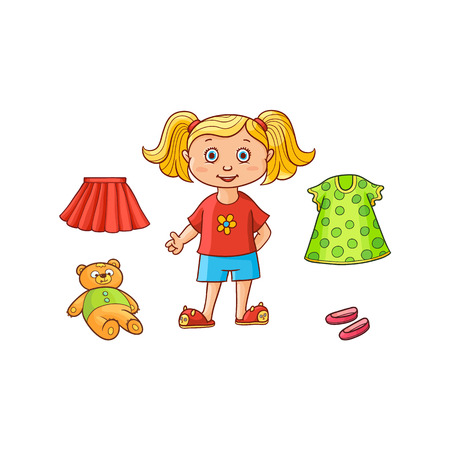 Little girl, child, kid and her things - dress, skirt, shoes and teddy bear toy, flat cartoon vector illustration isolated on white background. Drawing of little girl and her clothes and toy
