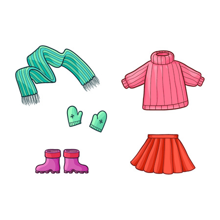 Set of warm clothes – sweater, skirt, mittens, scarf and rubber boots, flat cartoon vector illustration isolated on white background. Flat set of warm clothes- sweater, skirt, scarf, mittens and boots