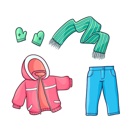 Set of winter clothes – padded jacket, jeans, knitted mittens and scarf, flat cartoon vector illustration isolated on white background. Set of little girl clothes, winter jacket, scarf and mittens