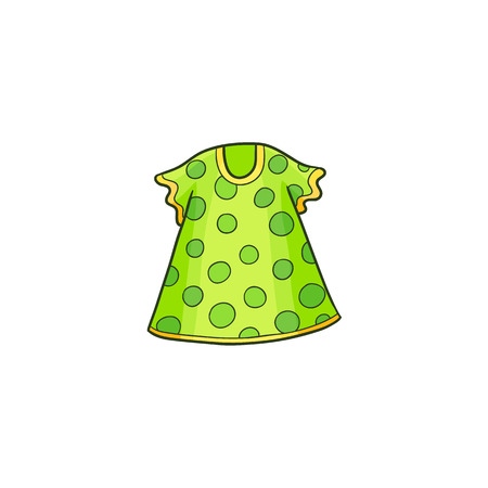 Green summer polka dotted dress for a little girl, flat cartoon vector illustration isolated on white background. Drawing of short summer baby dress with polka dot pattern
