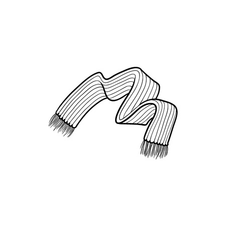 Black and white drawing of knitted wool scarf with fringe, flat cartoon vector illustration isolated on white background. Fringed wool scarf, winter season accessory, black and white picture Ilustração