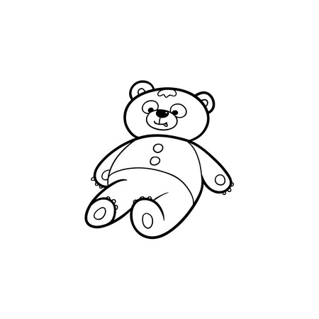 Black and white drawing of lovely teddy bear toy, flat cartoon vector illustration isolated on white background. Hand drawn black and white picture of plush teddy bear toy, coloring book element