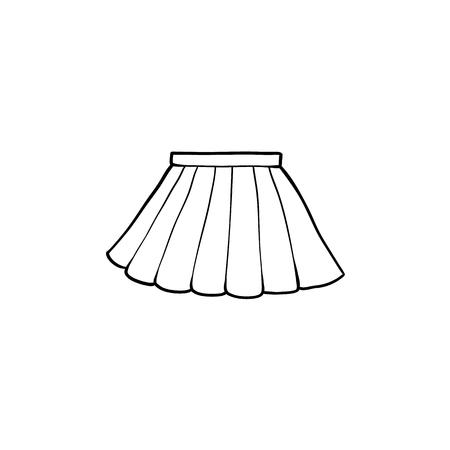 Disegno in bianco e nero della minigonna a pieghe, illustrazione di vettore del fumetto piatto isolato su priorità bassa bianca. minigonna pieghettata disegnata a mano, uniforme scolastica, foto in bianco e nero