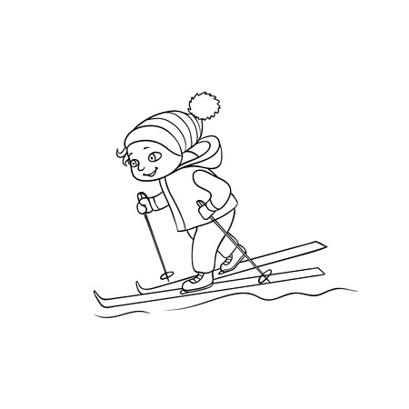 Happy little boy skiing, winter sport activity, black and white flat cartoon vector illustration isolated on white background. Drawing of little boy skiing, black and white picture, coloring book Çizim
