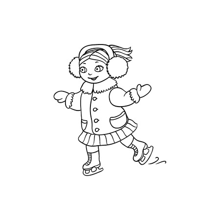 Happy little girl in ear muffs ice skating, black and white flat cartoon vector illustration isolated on white background. Drawing of little girl ice skating, black and white picture, coloring book
