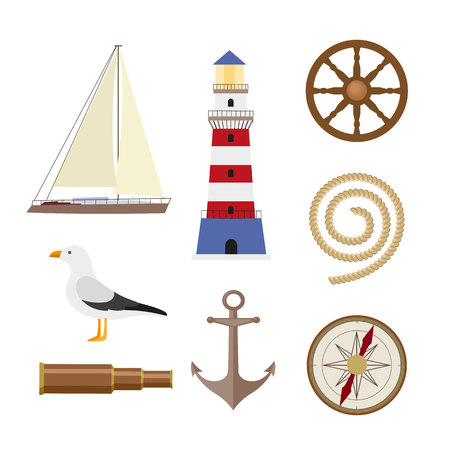 Flat cartoon nautical element set - lighthouse, anchor, compass, ship, rope, seagull, steering wheel, telescope, vector illustration isolated on white background. Set of flat style nautical objects